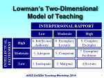 lowman s two dimensional model of teaching