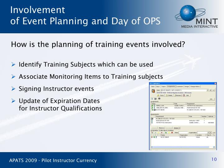 How is the planning of training events involved?