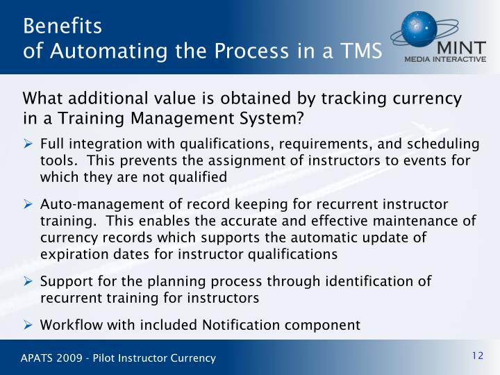 Full integration with qualifications, requirements, and scheduling tools.  This prevents the assignment of instructors to events for which they are not qualified
