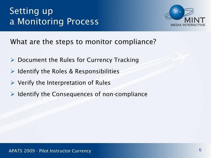 What are the steps to monitor compliance?