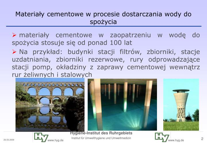Materia y cementowe w procesie dostarczania wody do spo ycia