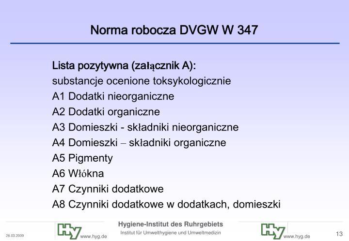 Norma robocza DVGW W 347