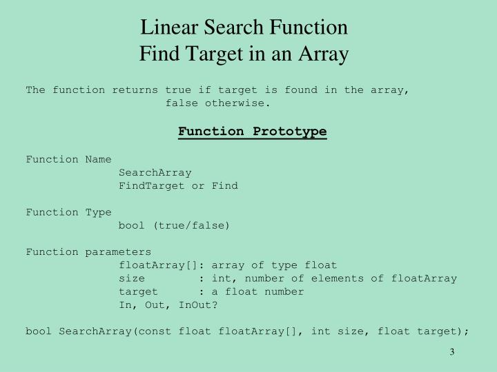 Linear search function find target in an array