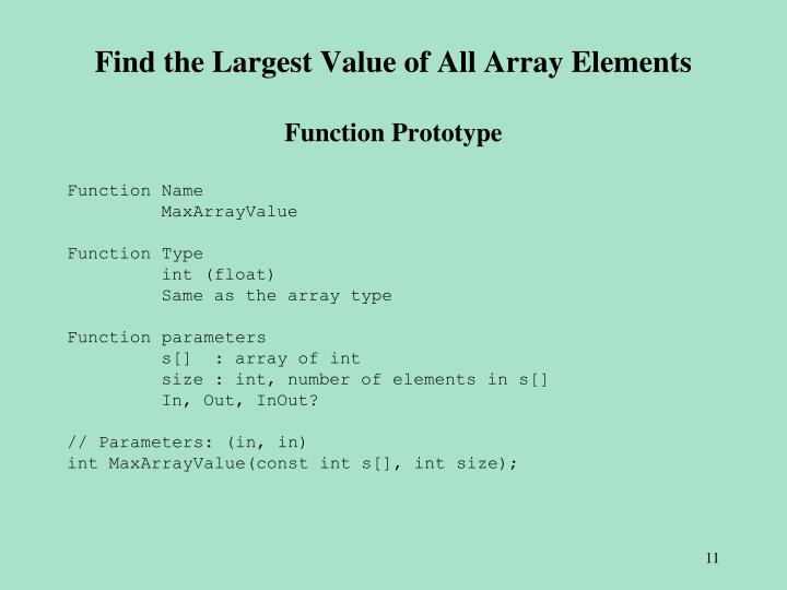 Find the Largest Value of All Array Elements