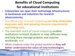 benefits of cloud computing for educational institutions