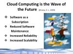 cloud computing is the wave of the future perera g j 2009
