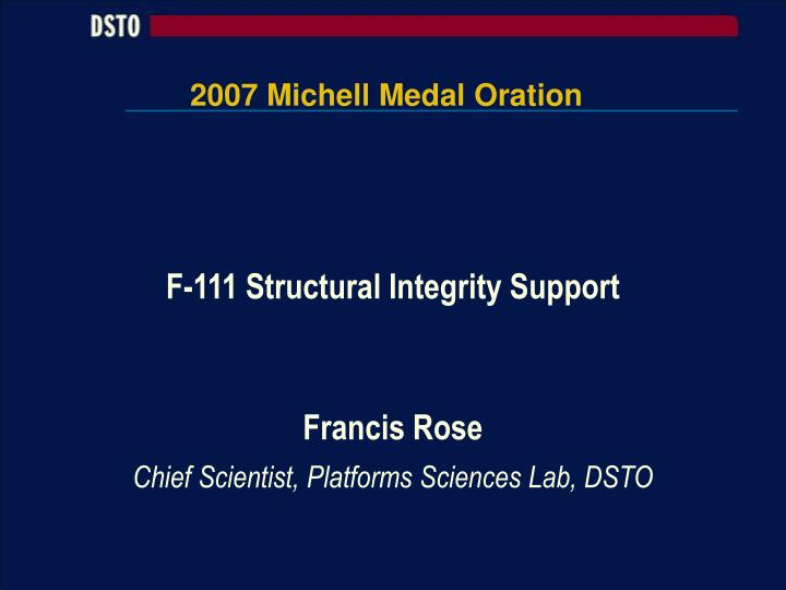 2007 michell medal oration n.
