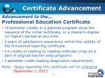 certificate advanc ement