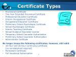 certificate typ es