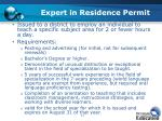 expert in residence permit