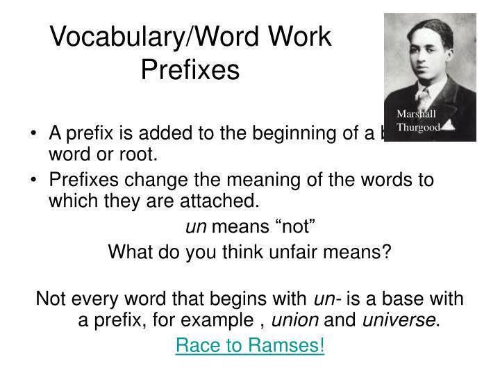 Vocabulary/Word Work