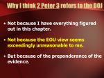 why i think 2 peter 3 refers to the doj