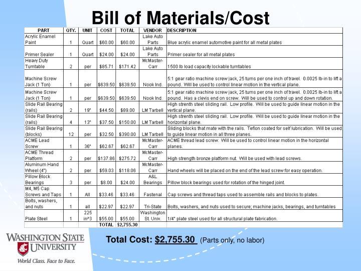 Bill of Materials/Cost