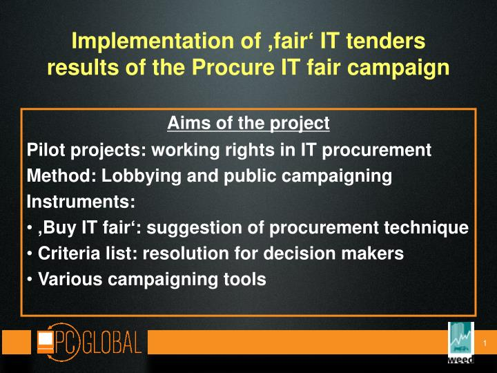 implementation of fair it tenders results of the procure it fair campaign n.