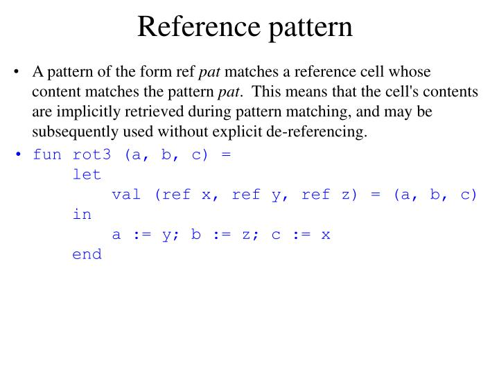Reference pattern