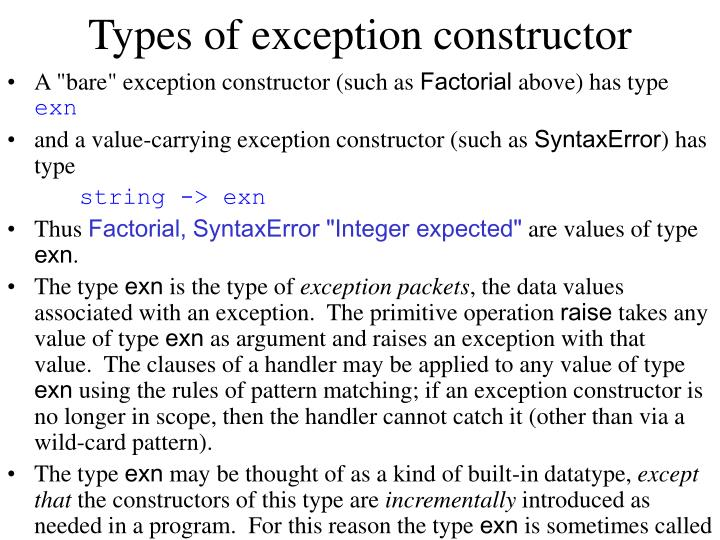 Types of exception constructor