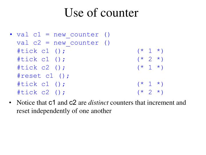 Use of counter