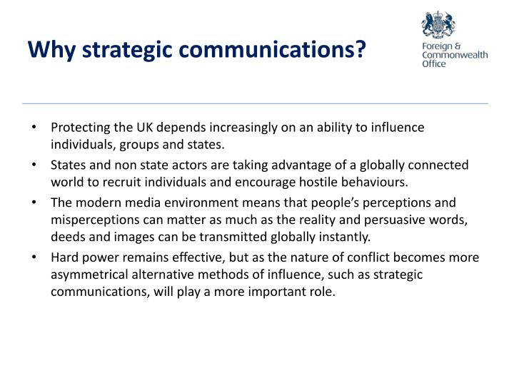 Why strategic communications?
