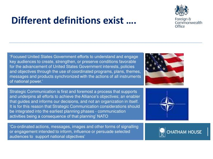 Different definitions exist ….