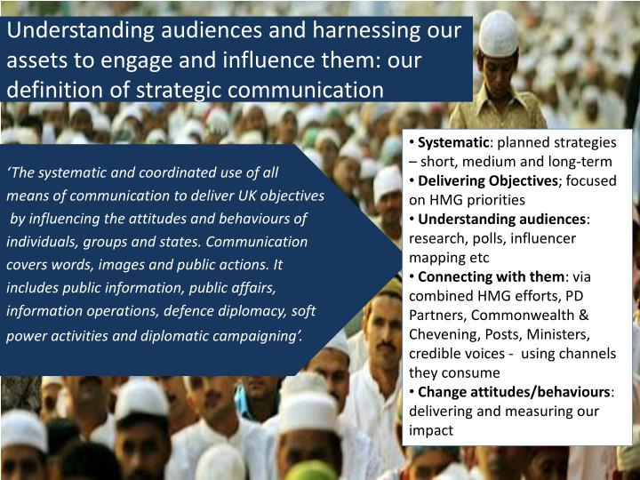 Understanding audiences and harnessing our assets to engage and influence them: our definition of strategic communication