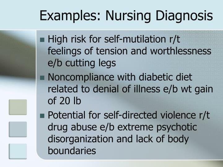 Examples: Nursing Diagnosis