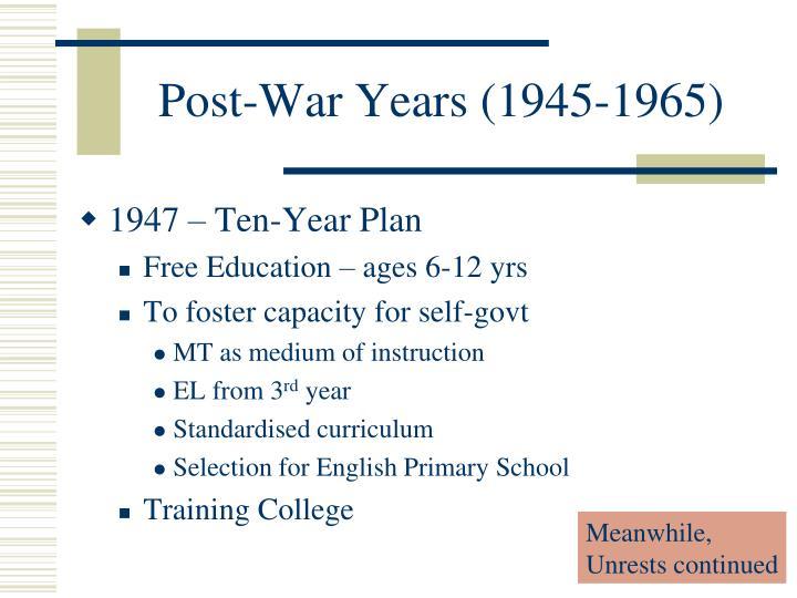 Post-War Years (1945-1965)