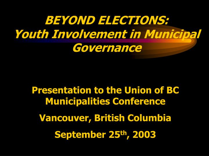 beyond elections youth involvement in municipal governance n.