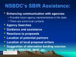 nsbdc s sbir assistance