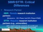 sbir sttr c ritical differences