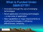 what is funded under sbir sttr