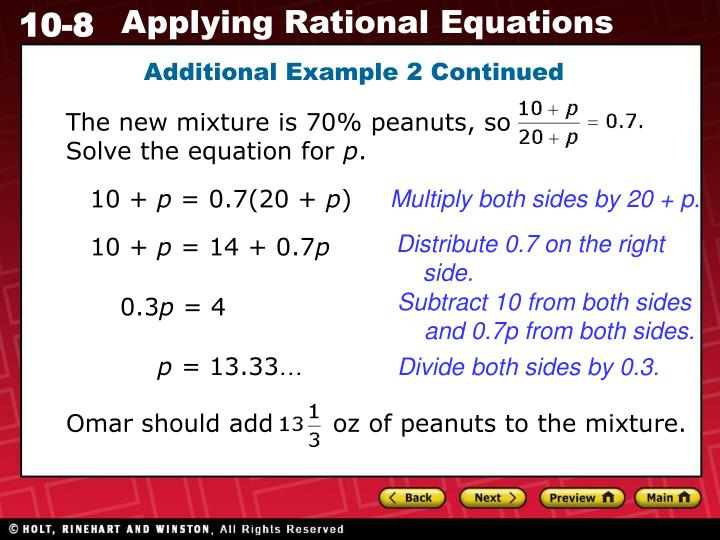 The new mixture is 70% peanuts, so                Solve the equation for
