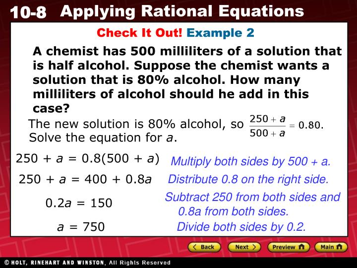 The new solution is 80% alcohol, so