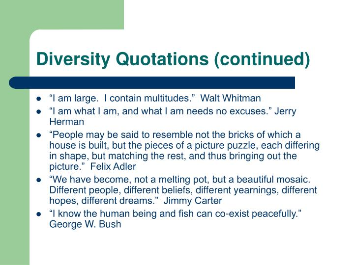 Diversity Quotations (continued)
