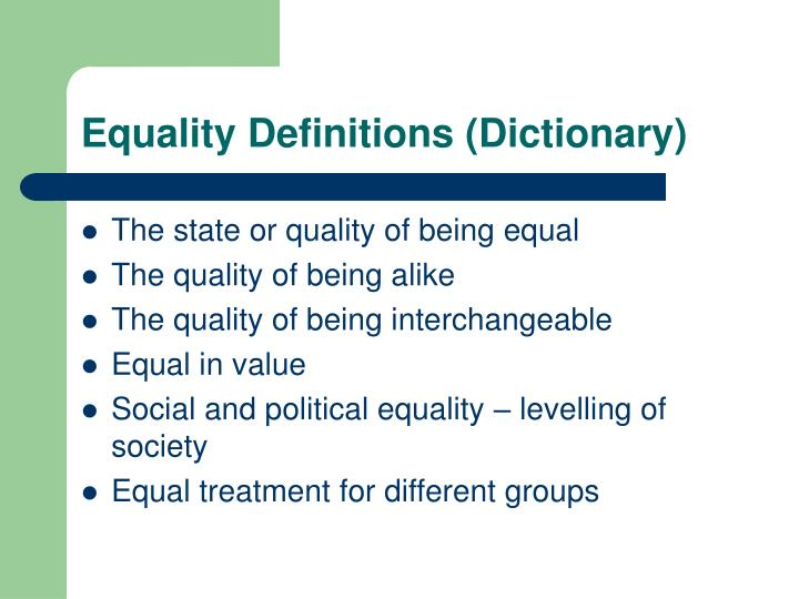Equality definitions dictionary
