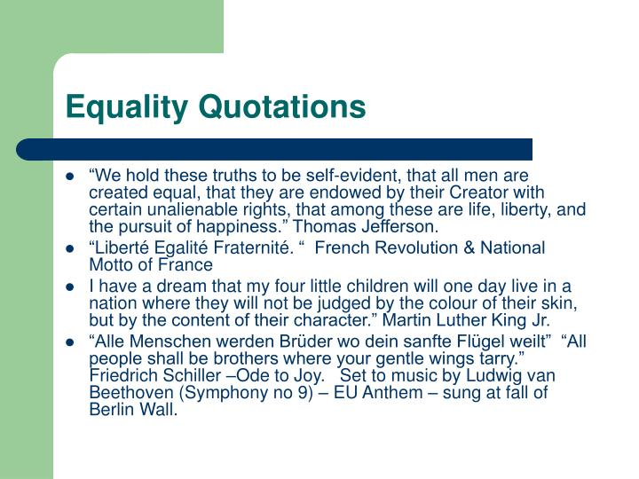 Equality quotations