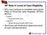 nf role in level of care eligibility