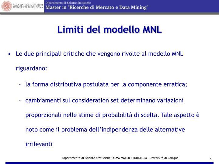 Limiti del modello MNL