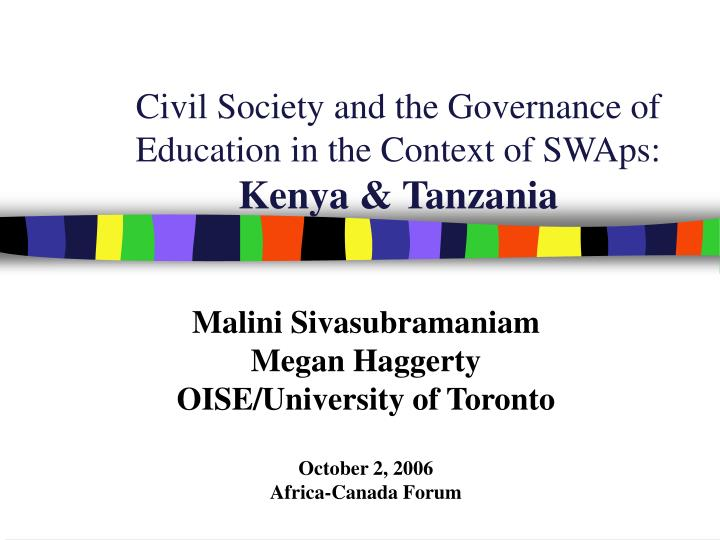 Civil society and the governance of education in the context of swaps kenya tanzania