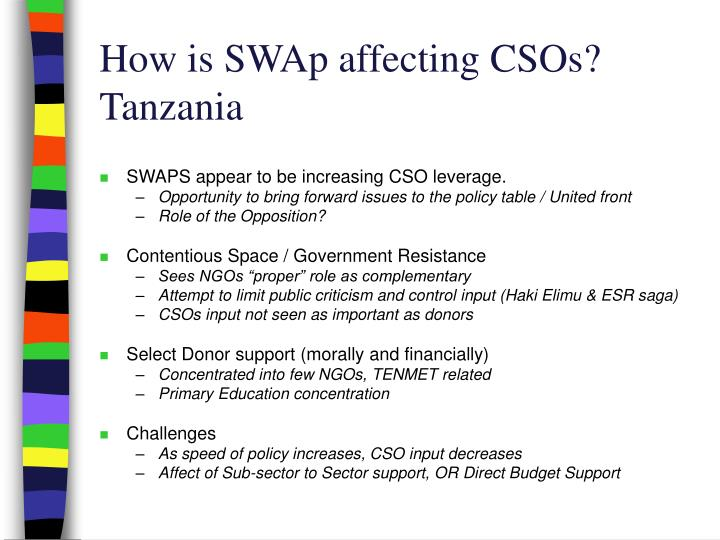 How is SWAp affecting CSOs?