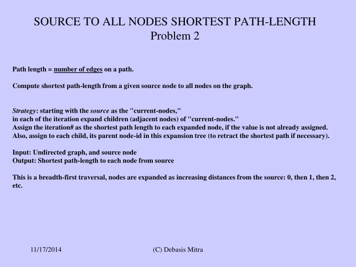SOURCE TO ALL NODES SHORTEST PATH-LENGTH