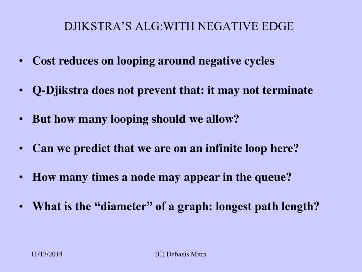 DJIKSTRA'S ALG:WITH NEGATIVE EDGE