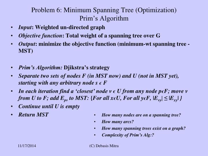 Problem 6: Minimum Spanning Tree (Optimization)