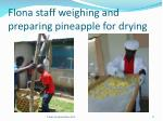 flona staff weighing and preparing pineapple for drying