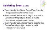 validating event contd
