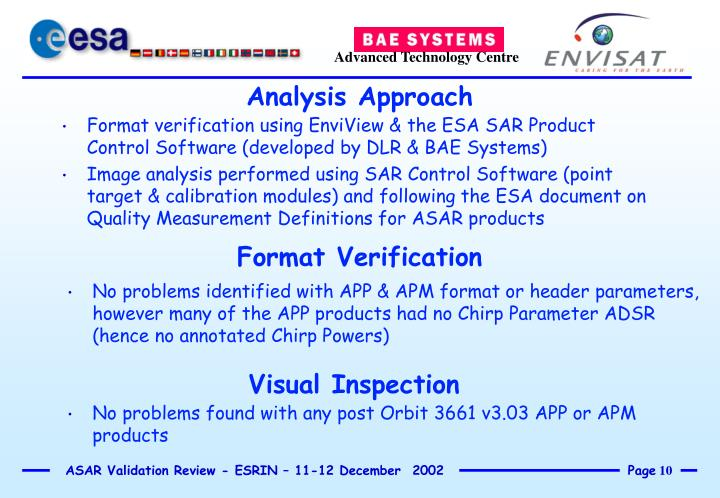 Format verification using EnviView & the ESA SAR Product Control Software (developed by DLR & BAE Systems)