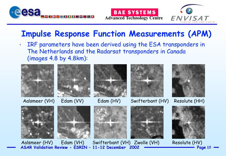 IRF parameters have been derived using the ESA transponders in The Netherlands and the Radarsat transponders in Canada (images 4.8 by 4.8km):