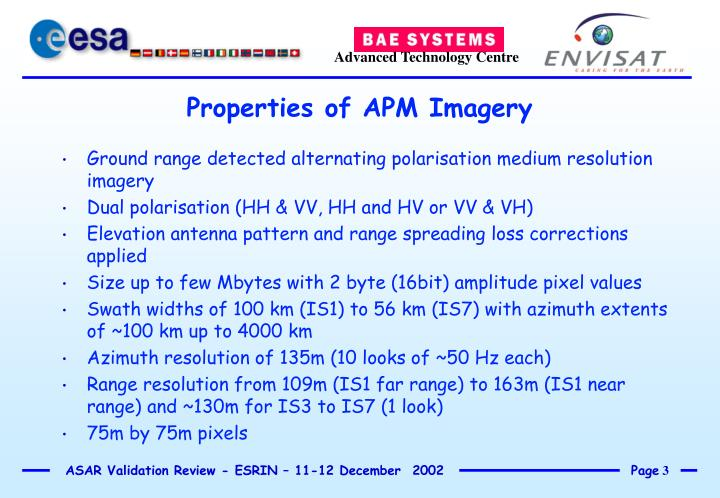 Properties of apm imagery