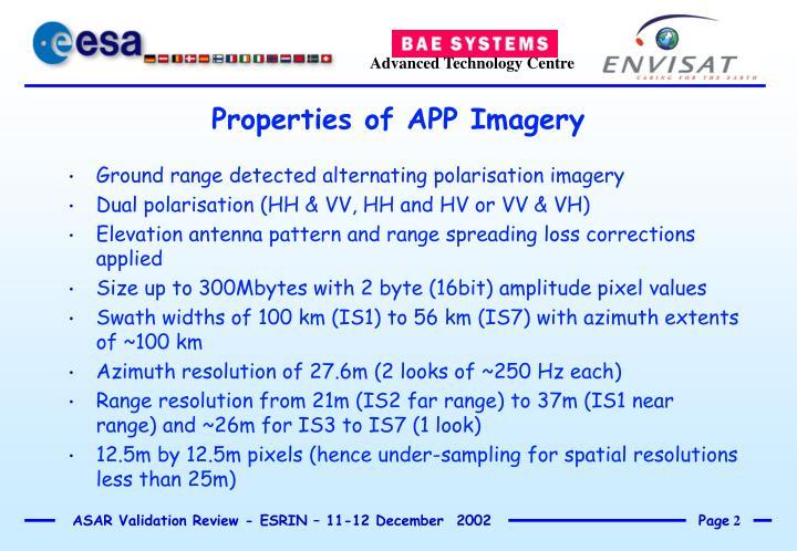 Properties of app imagery