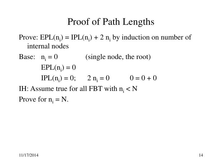Proof of Path Lengths