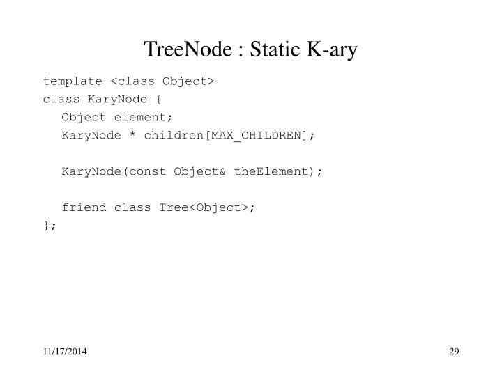 TreeNode : Static K-ary